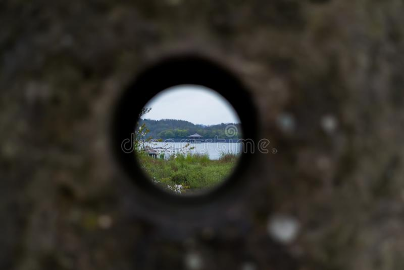 Water Hut Through The Spy Hole royalty free stock photos
