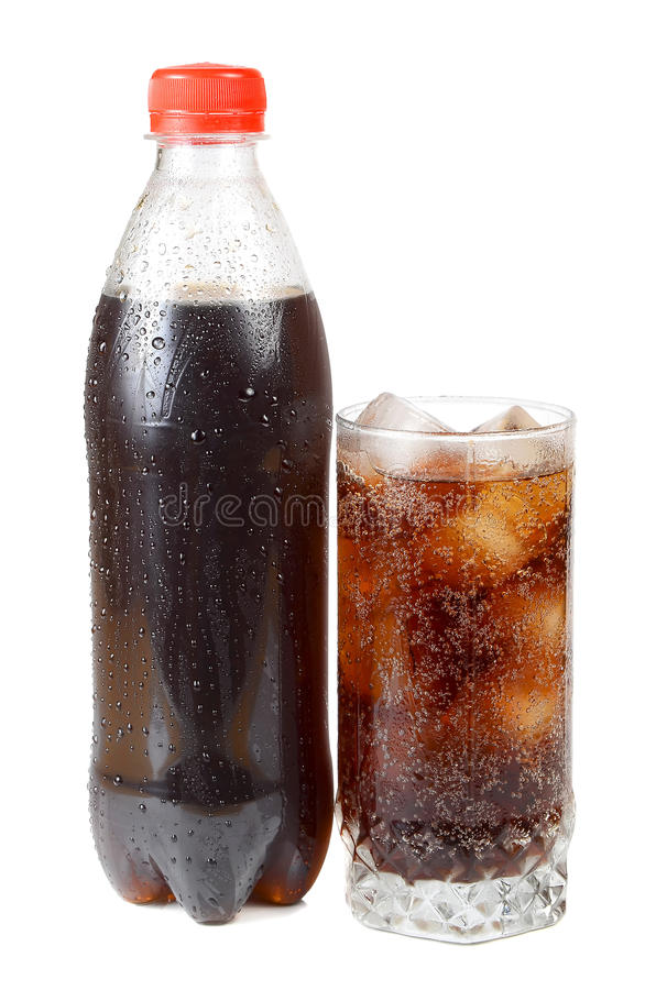 Water with ice in glass stock photos
