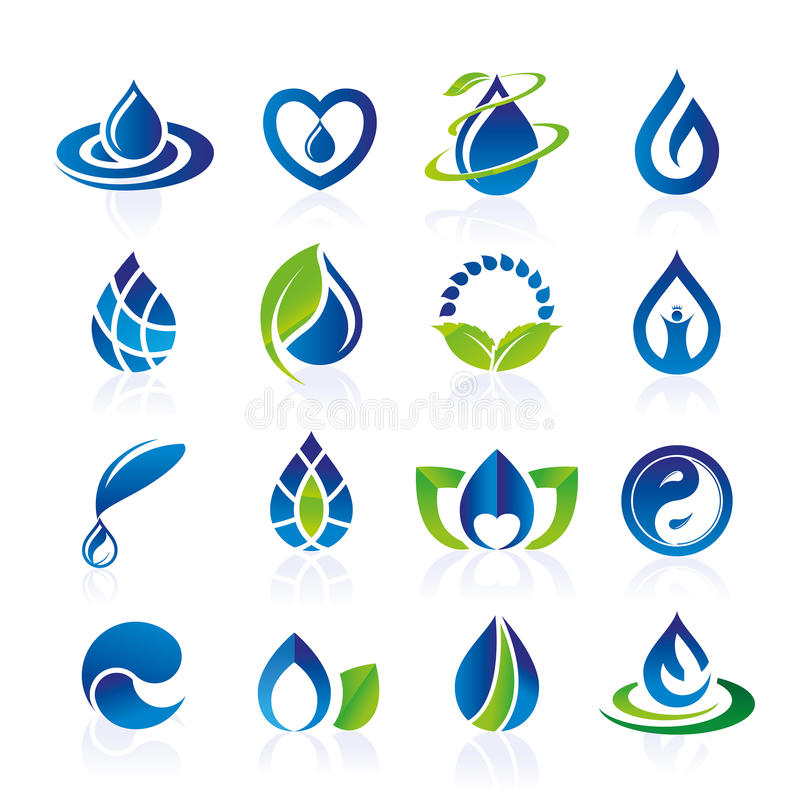 Water icon set stock illustration