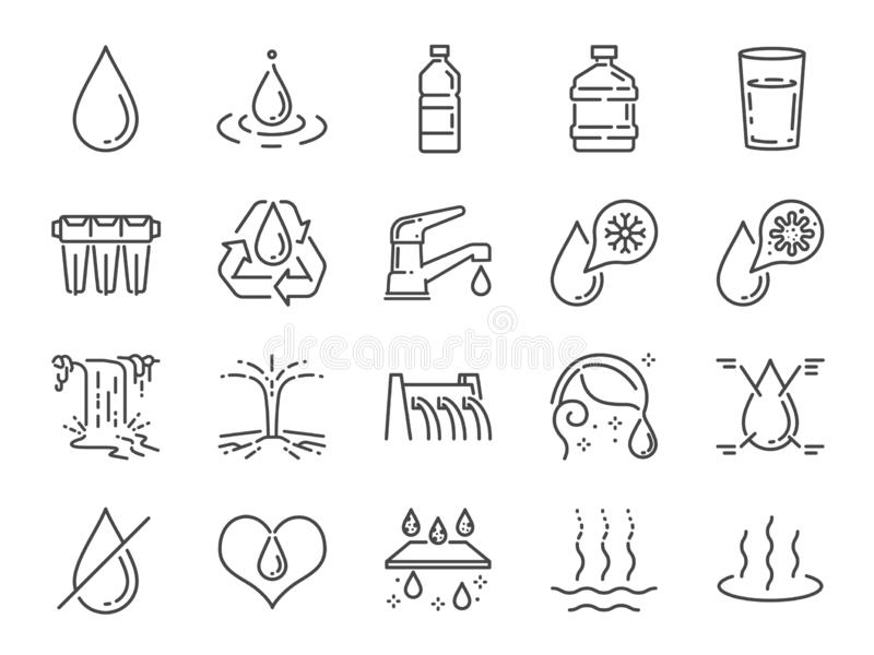 Water icon set. Included icons as water drop, moisture, liquid, bottle, litter and more. stock illustration