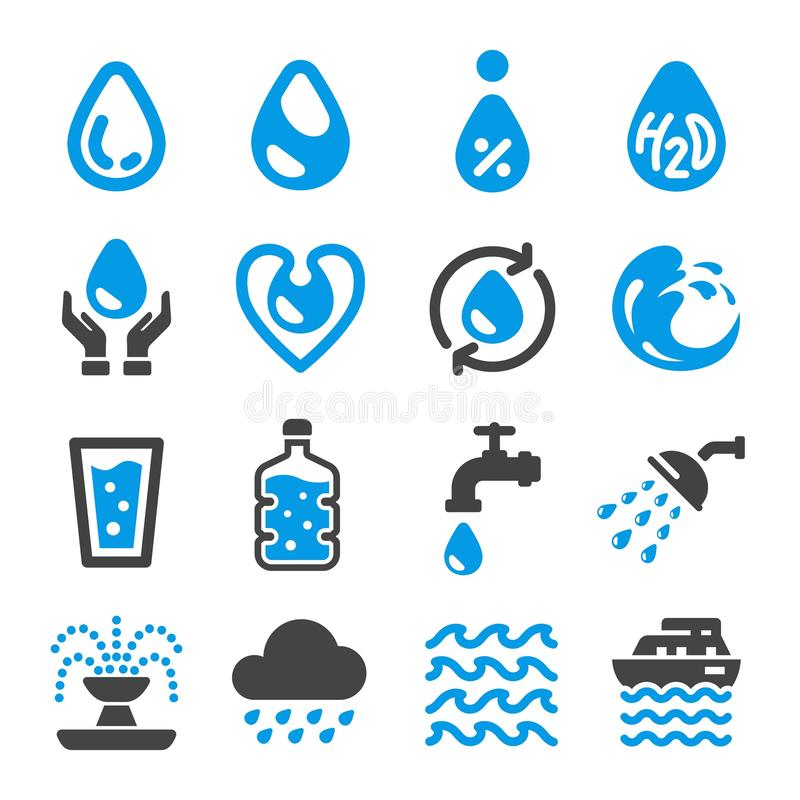 Water icon set. Vector and illustration stock illustration