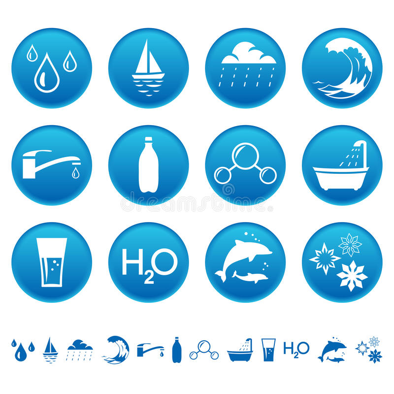Water icons. Water symbols on round buttons stock illustration