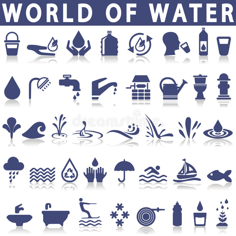 Water icons royalty free illustration