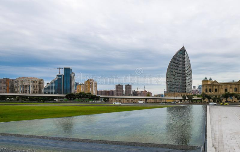 Water installation in park, Baku city royalty free stock images