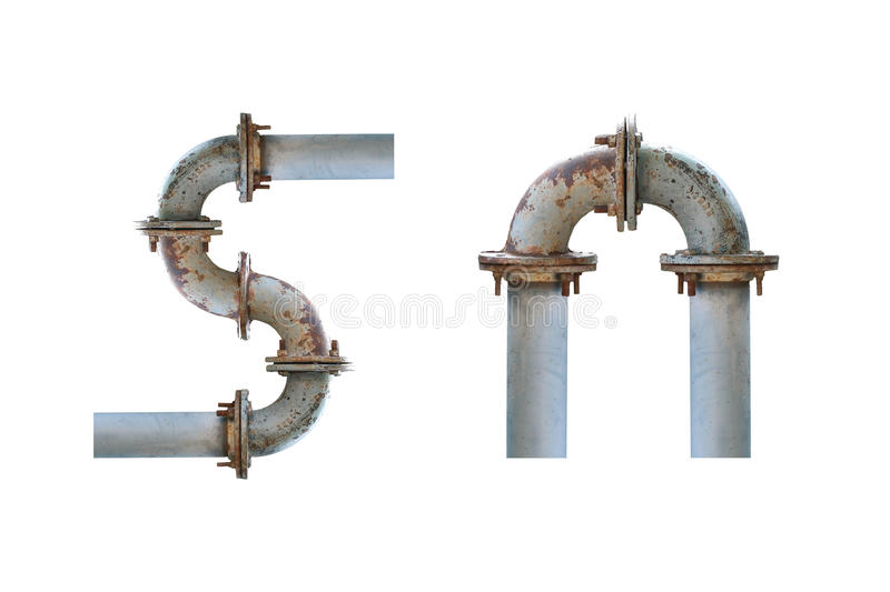 Water iron pipe white isolated stock illustration
