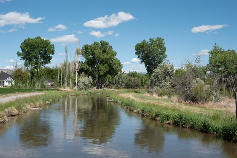Agricultural Canal near Grand Junction, Colorado royalty free stock photography