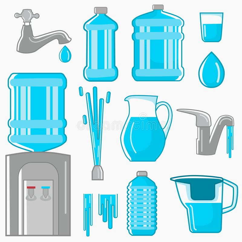 Water its sources of production for humans color flat icons set. Line design for web and mobile on white background vector illustration