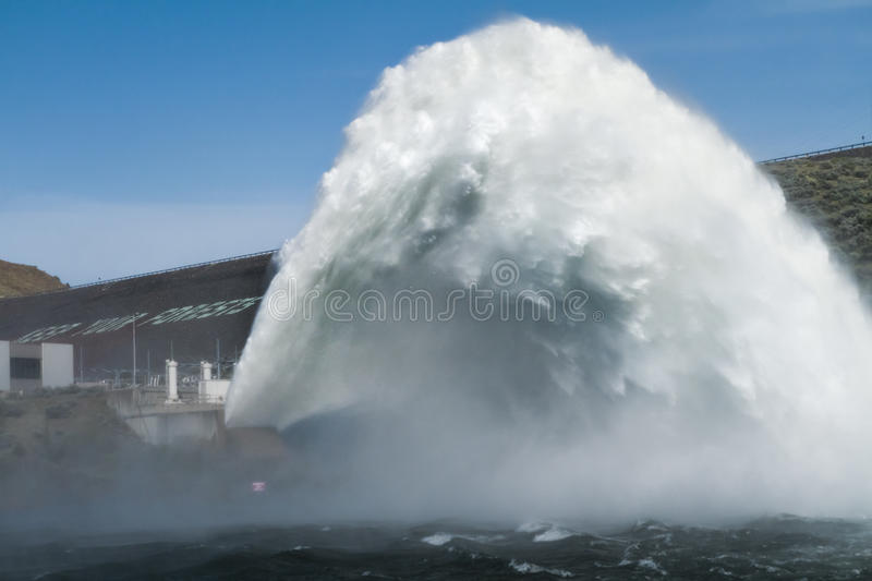 Water jet being released from the Lucky Peak Dam stock images