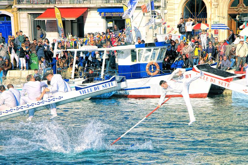 Water Jousting performance in Sete, Languedoc-Roussillon, south stock photography