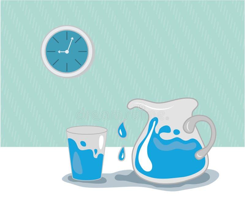 Water in kruik, glas en blauwe klok stock fotografie