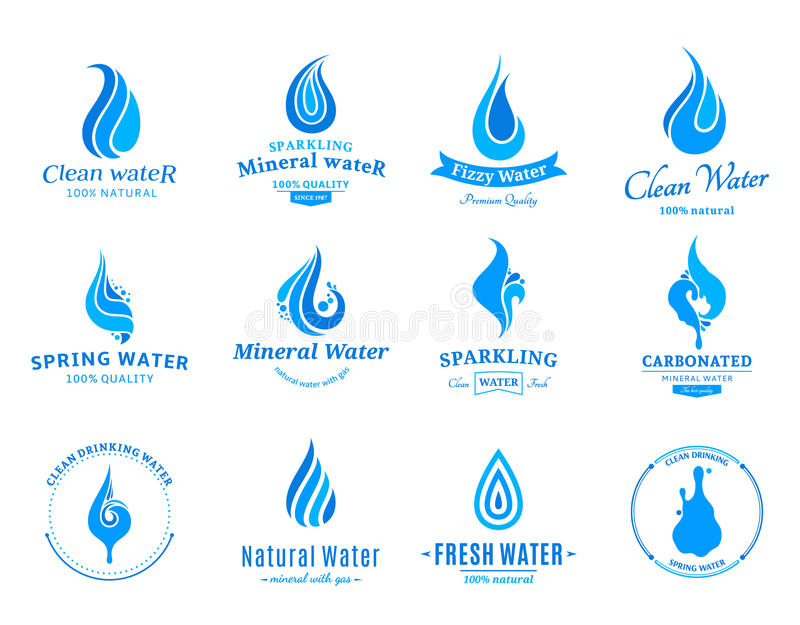 Water Label, Icons and Design Elements. Set of water labels, badges, design-elements and abstract water icons royalty free illustration