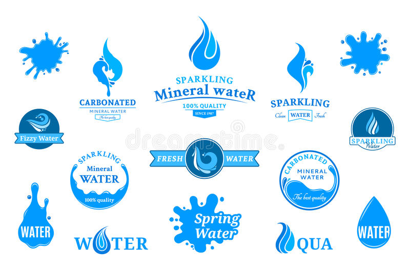 Water Label, Icons and Design Elements. Set of water labels, badges, design-elements and abstract water icons vector illustration