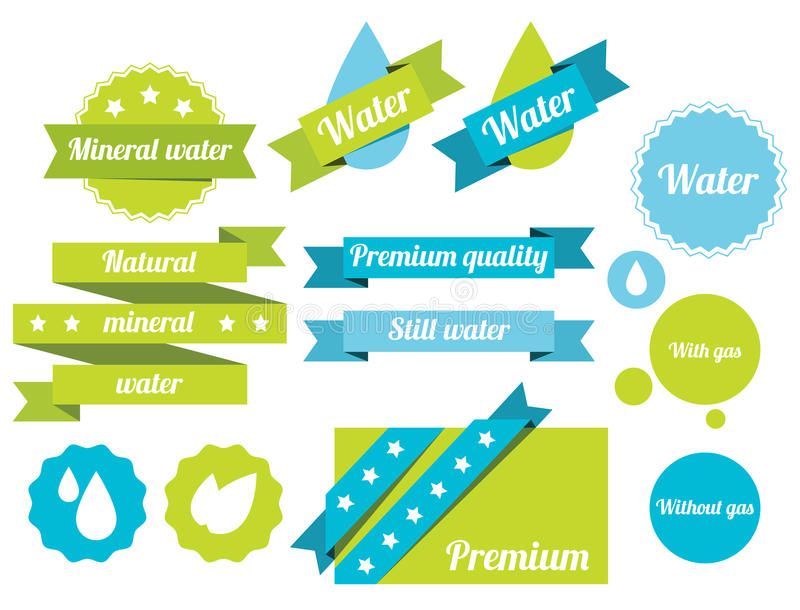 Water labels. Set of water badges, labels and icons. Bitmap illustration with additional vector file in EPS format stock illustration