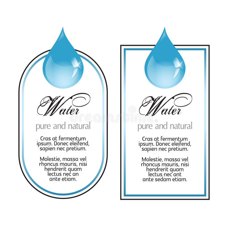 Water labels with drop on white. Water labels with drop stock illustration