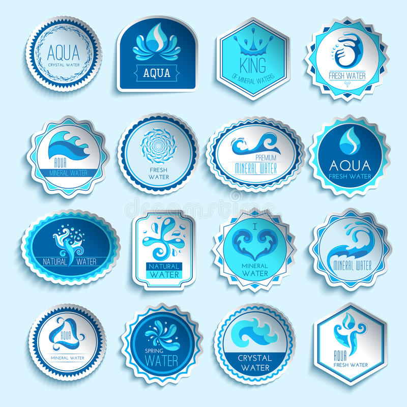 Water Labels Set. Fresh mineral water paper sticker labels set isolated vector illustration royalty free illustration