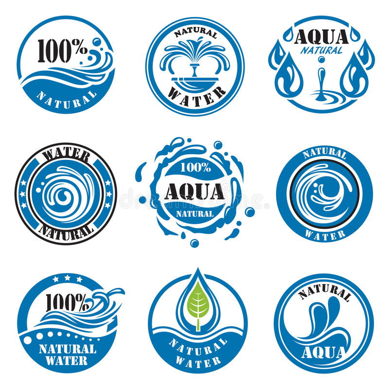 Water labels royalty free illustration