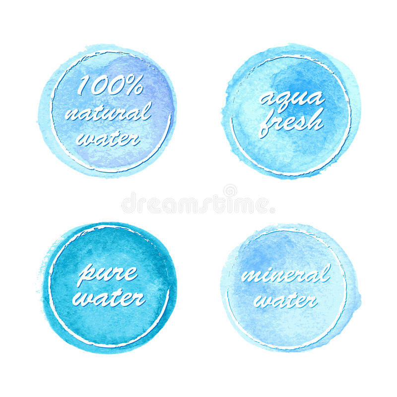 Water labels set in watercolor style. For your design vector illustration