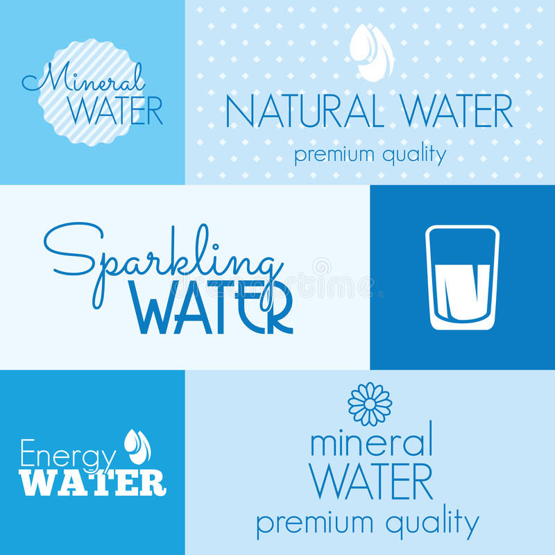Water labels. Vector illustrations of the Water labels royalty free illustration