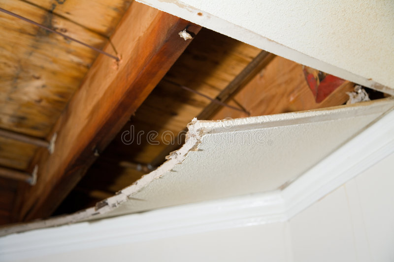 Water leaking. Home Interior Water leaking damage for background stock images