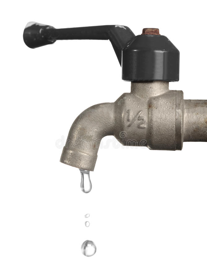 Water leaking from old metal tap royalty free stock images