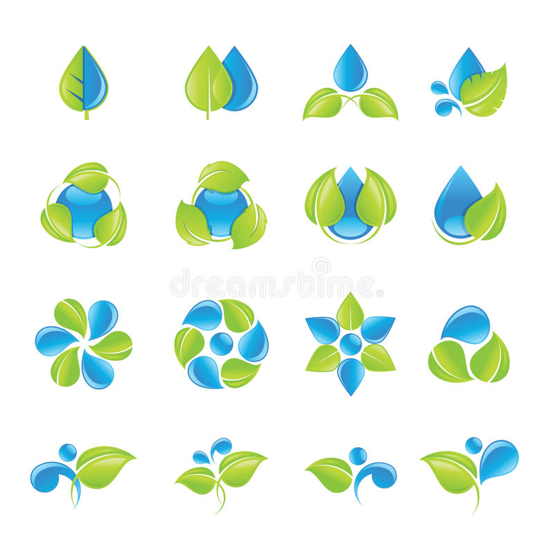 Water and leaves icons set. Set of water and leaves icons for beauty, spa, cosmetics, nature and environment