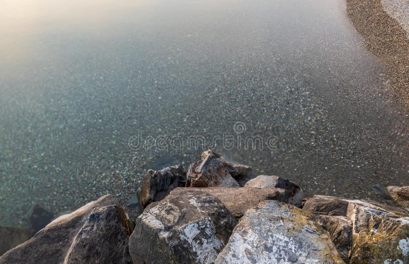 Water. Leman. Stone. Long Exposure. Top View. Lake royalty free stock photo