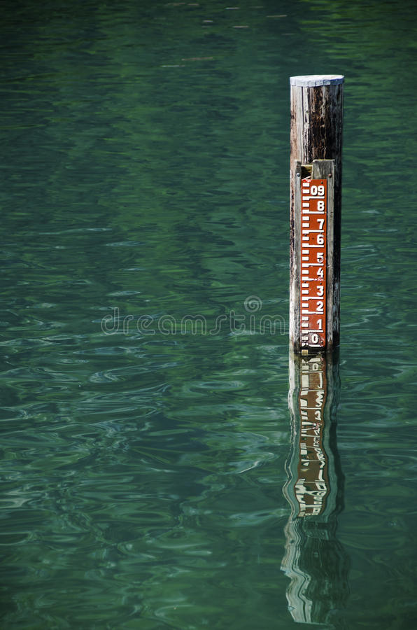 Water level in a lake. With reflection stock photography