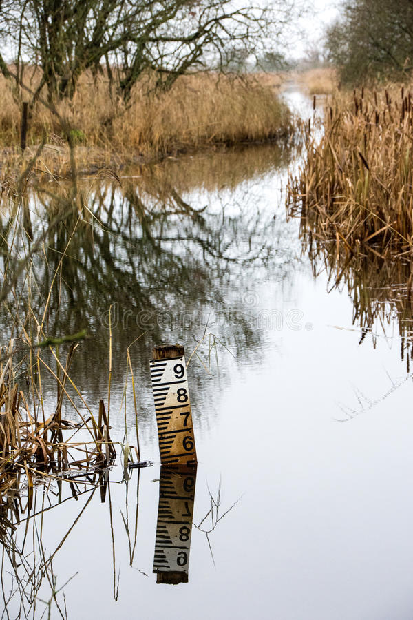 Free Water Level Marker At Leighton Moss RSPB Bird Reserve Royalty Free Stock Photos - 82246088