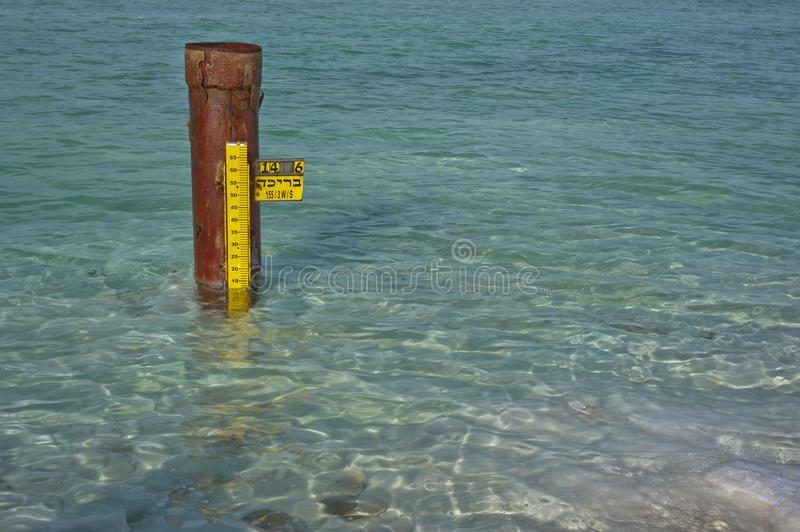 Water level Measurer. Water level measure at the Dead Sea stock photography
