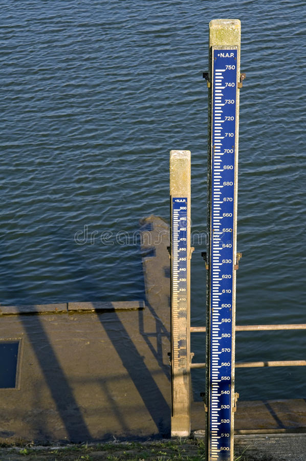 Water levels measurements in the river IJssel. Netherlands, province Overijssel, Salland region, near the city of Deventer are on the dike, , IJsseldijk of the royalty free stock photo