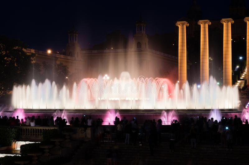 Water and light show of famous Magic Fountain in Barcelona. stock photo