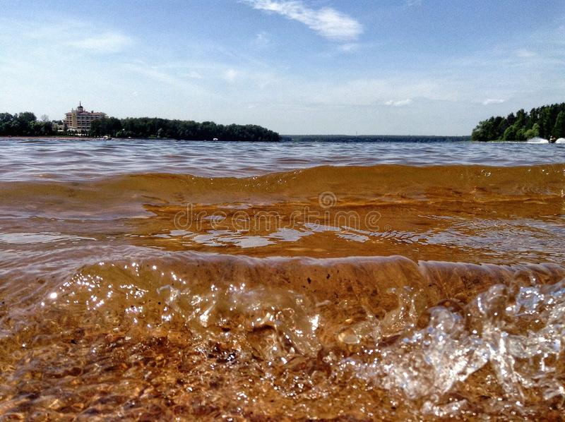 Water. Lights on water. Russians lakes are beautiful stock photo