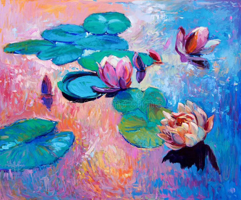 Water lilies. Original abstract oil painting of beautiful water lilies.Modern Impressionism stock photography