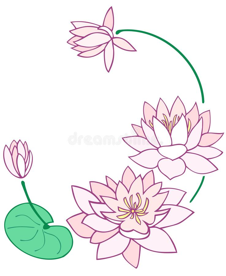 Water lily border design royalty free illustration