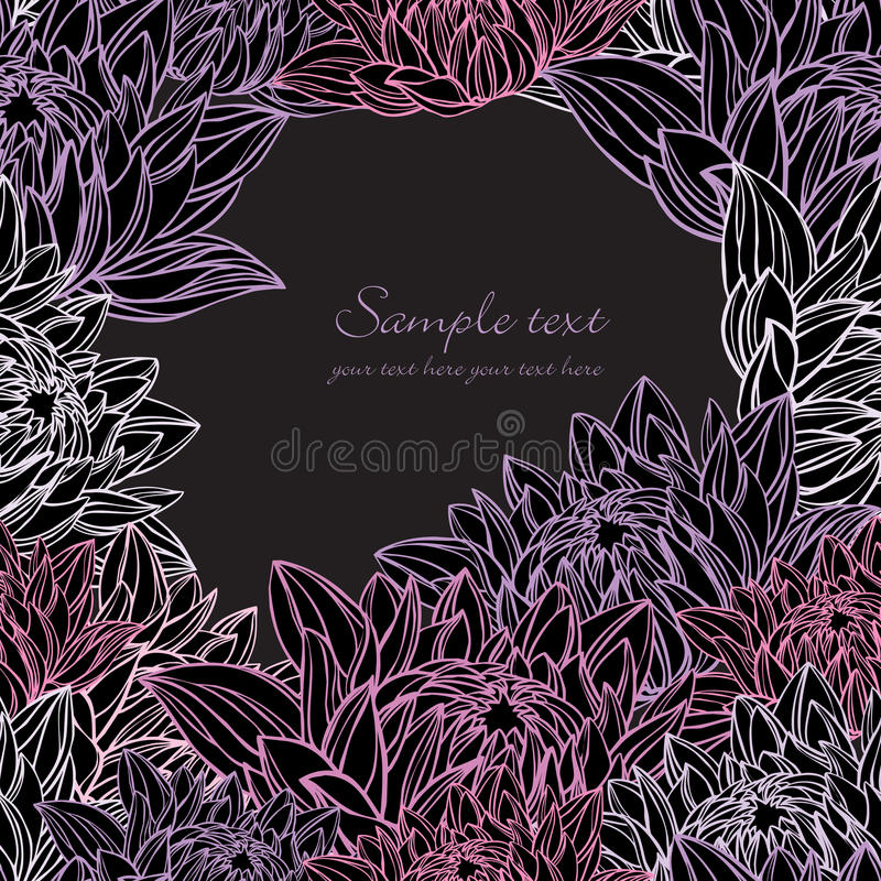 water lily frame floral stock illustration