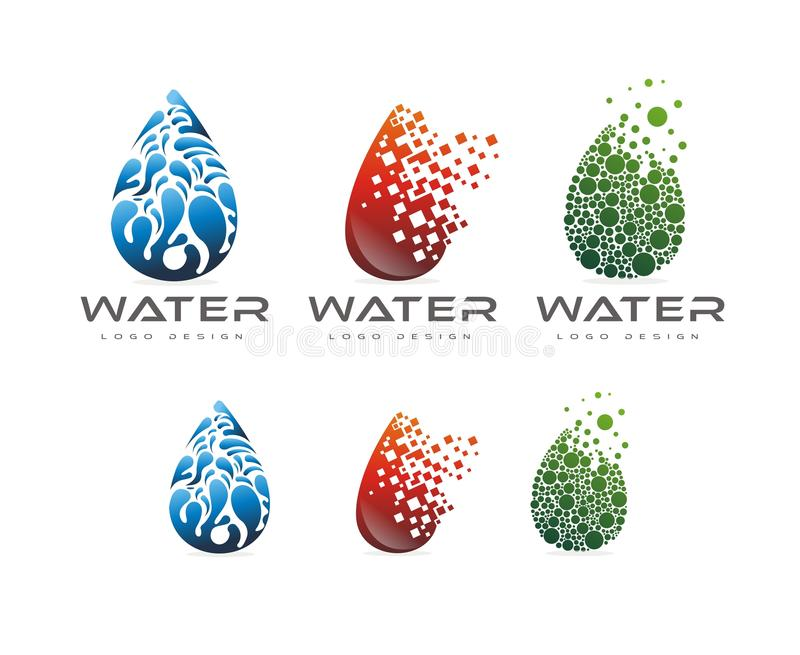 3 WATER LOGO DESIGN WITH VARIOUS SHAPES stock photography