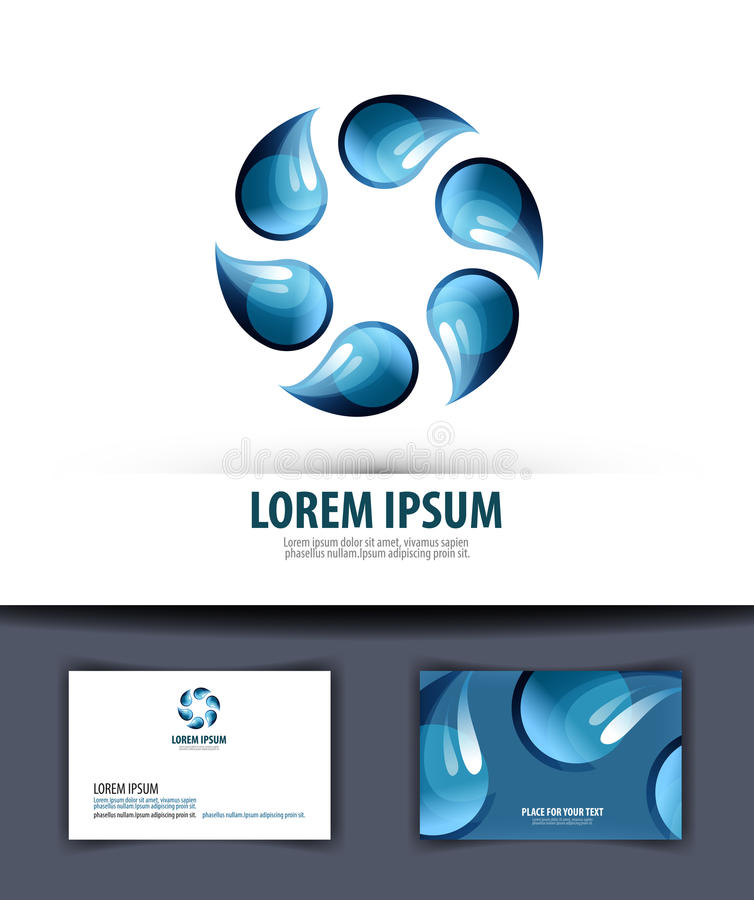 Water. Logo, Icon, Emblem, Template, Business Card Stock Vector ...