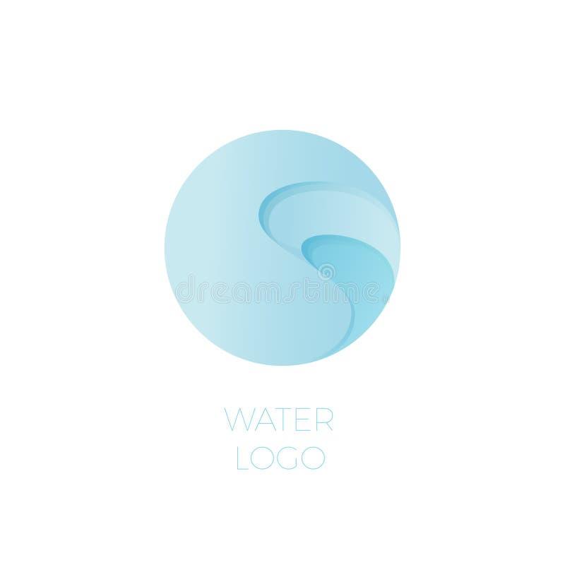 Water logo. Pool or spa emblem. Beautiful sea waves on a circle. royalty free illustration