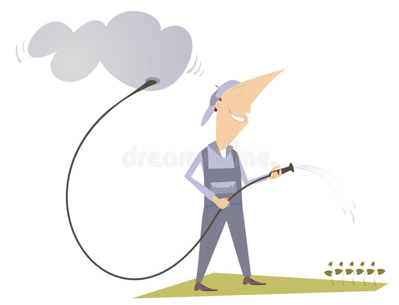 Water. Man is watering a lawn with hose vector illustration