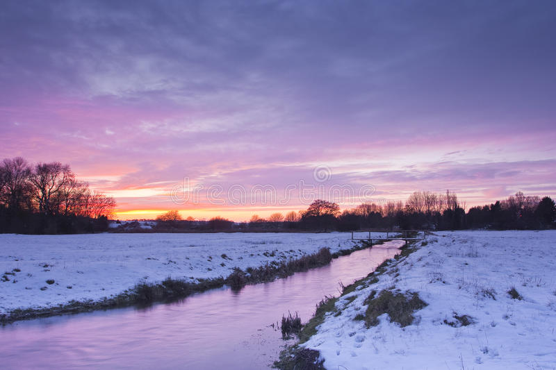Water meadows snow. The West Harnham water meadows after a snow fall stock photo