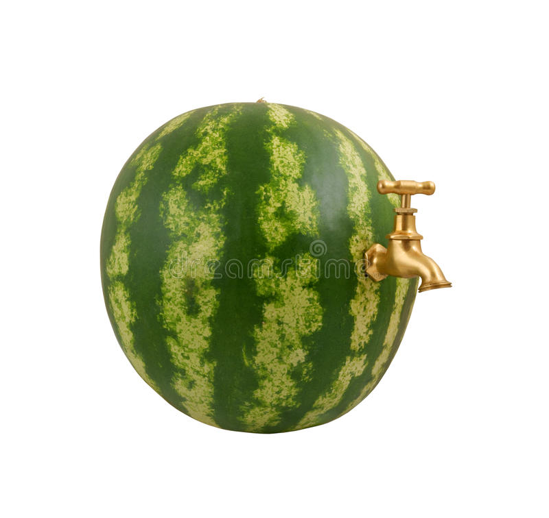 Water Melon With Faucet Isolated Stock Image - Image of green, ripe ...