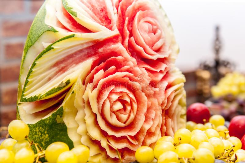 Water melon floral ornament carving royalty free stock photography