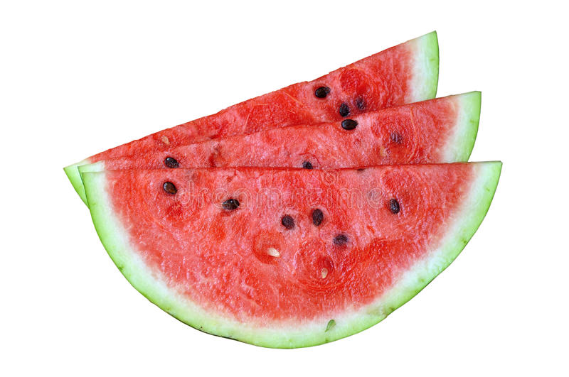 Water melon slices. Three slices of fresh water melon stock photo