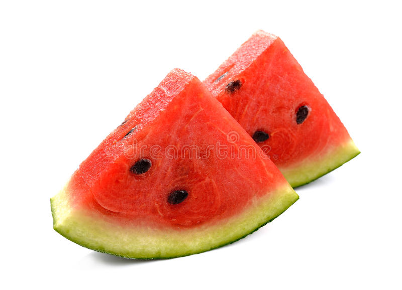 Water melon slices isolated on white background royalty free stock images