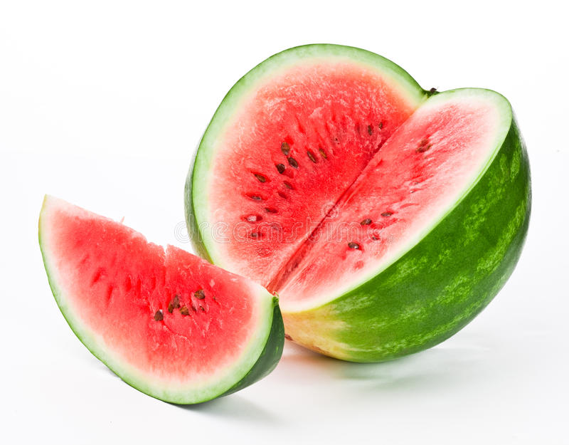 Water-melon on a white background stock photos