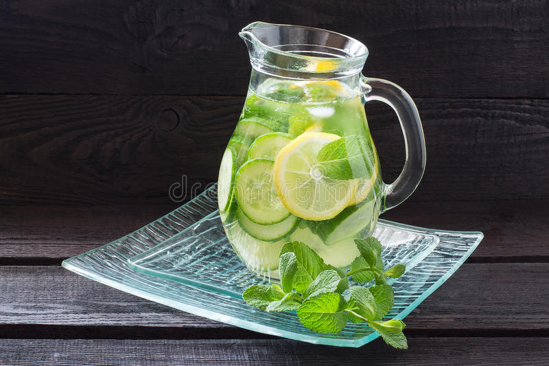 water met citroen komkommer gember en munt stock afbeelding afbeelding bestaande uit koude. Black Bedroom Furniture Sets. Home Design Ideas