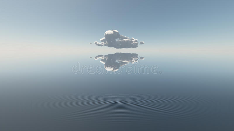 Water met enige wolk stock illustratie