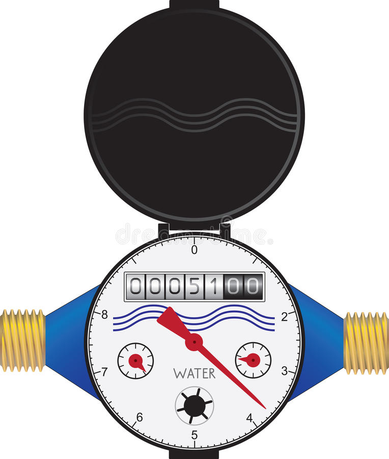 Meter Clip Art : Water meter stock vector illustration of brass pipeline