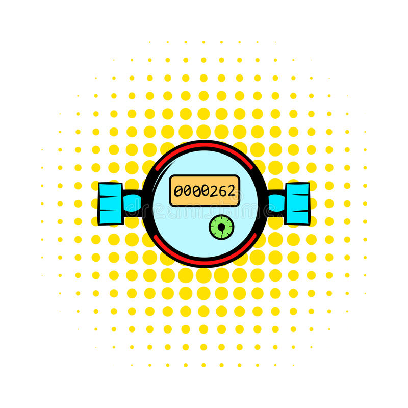Water meters comics icon. On a white background royalty free illustration