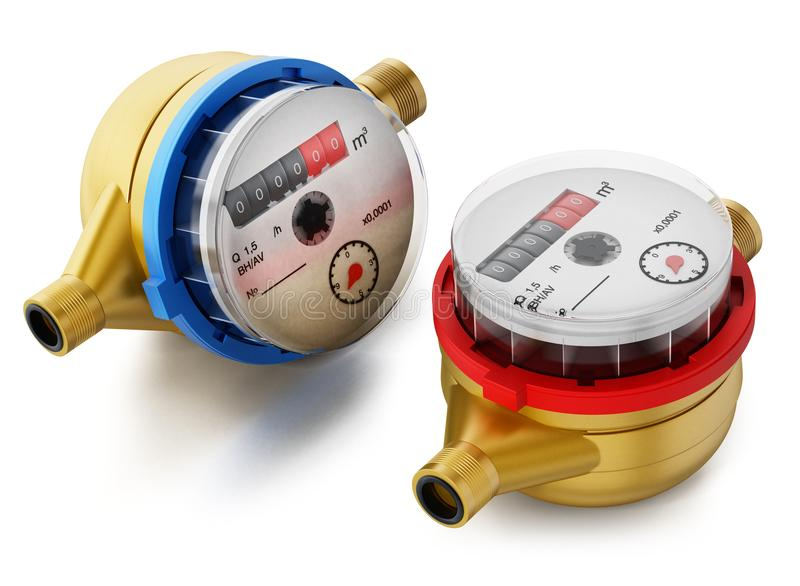 Water meters isolated on white background. 3D illustration stock illustration